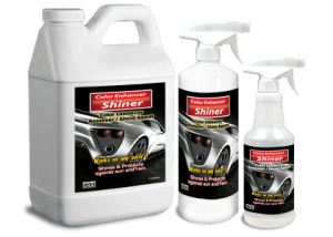 Removes excess Color Enhancer and serves as a surface shine agent which adds luster and gloss to the vehicles finish. Easy to use just spray over the area and remove excess with lint free cloth.  Dries Shiny.