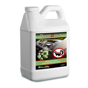 "Reduce with water to make one ready to use gallon. Spray direct on fabric, hard surface or in AC intakes for direct odor elimination. Time release formula oxidizes for extra deodorizing action. Eliminates the strongest of foul odors and the sources that cause them so they don't return. Hypo-allergenic and fragrance free. Not only eliminates odor, but also the source of the odor so it never returns.  OdorXout description: OdorXout's activated ingredient is ClO2. According to techlinkenter .org The ""EPA first registered ClO2 as a disinfectant and sanitizer in 1967, and as a gas sterilant in 1988. The US Army uses ClO2 in the field for surface decontamination"" .Spray direct on fabric, hard surface or in AC intakes for direct odor elimination."""